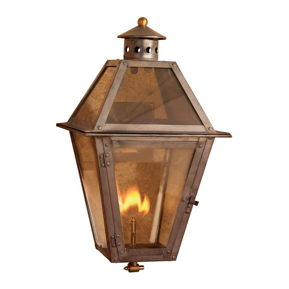 Titan Lighting Grand Isle 18 in. Outdoor Washed Pewter Gas Wall Lantern