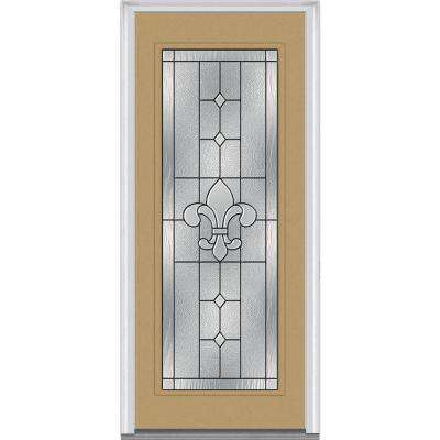 36 in. x 80 in. Carrollton Left-Hand Inswing Full Lite Decorative Painted Steel Prehung Front Door
