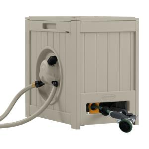 Click here to buy Suncast 125 ft. Aquawinder Auto Rewind Hose Reel by Suncast.
