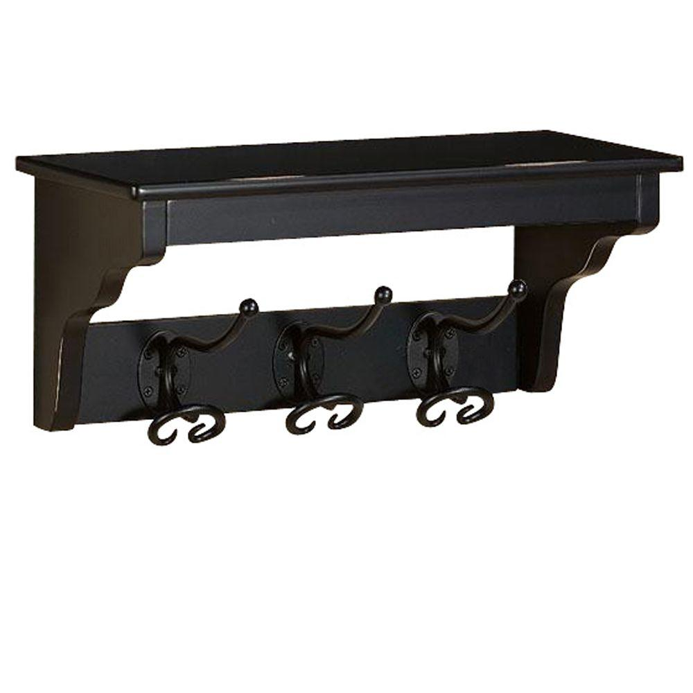 Home Decorators Collection Sonoma 3-Hook Distressed Black Coat Rack