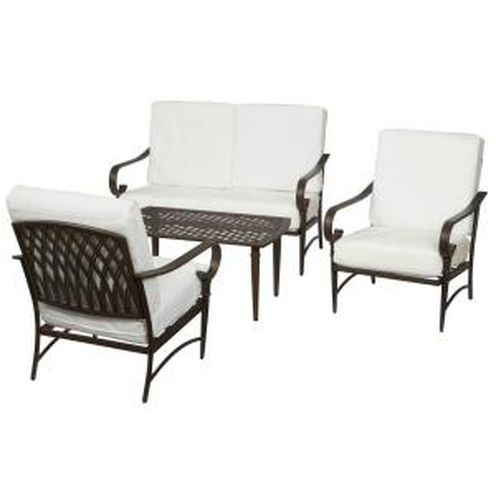 oak cliff custom 4piece metal patio set hampton bay - Hampton Bay Outdoor Furniture