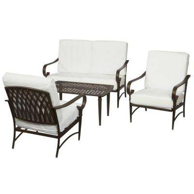 Oak Cliff Custom 4 Piece Metal Patio Conversation ... - Patio Conversation Sets - Outdoor Lounge Furniture - The Home Depot