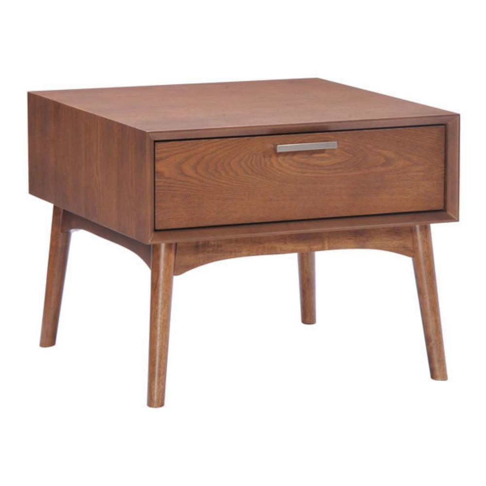Julia 19 in. Walnut Wood End Table