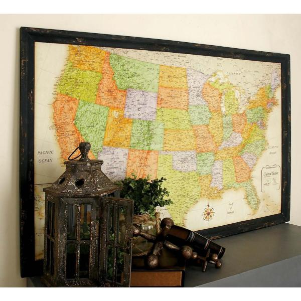 34 In X 50 In Vintage Wooden Wall Map With Distressed Gray Frame