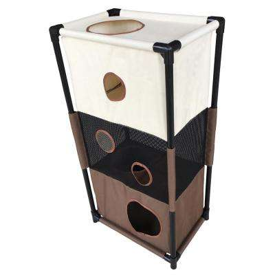 Khaki and Brown Kitty-Square Obstacle Soft Folding Sturdy Play-Active Travel Collapsible Travel Pet Cat House Furniture