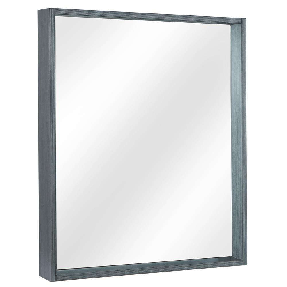 Shiri 26 in. W x 32 in. H Framed Wall Mirror in Charcoal Grey