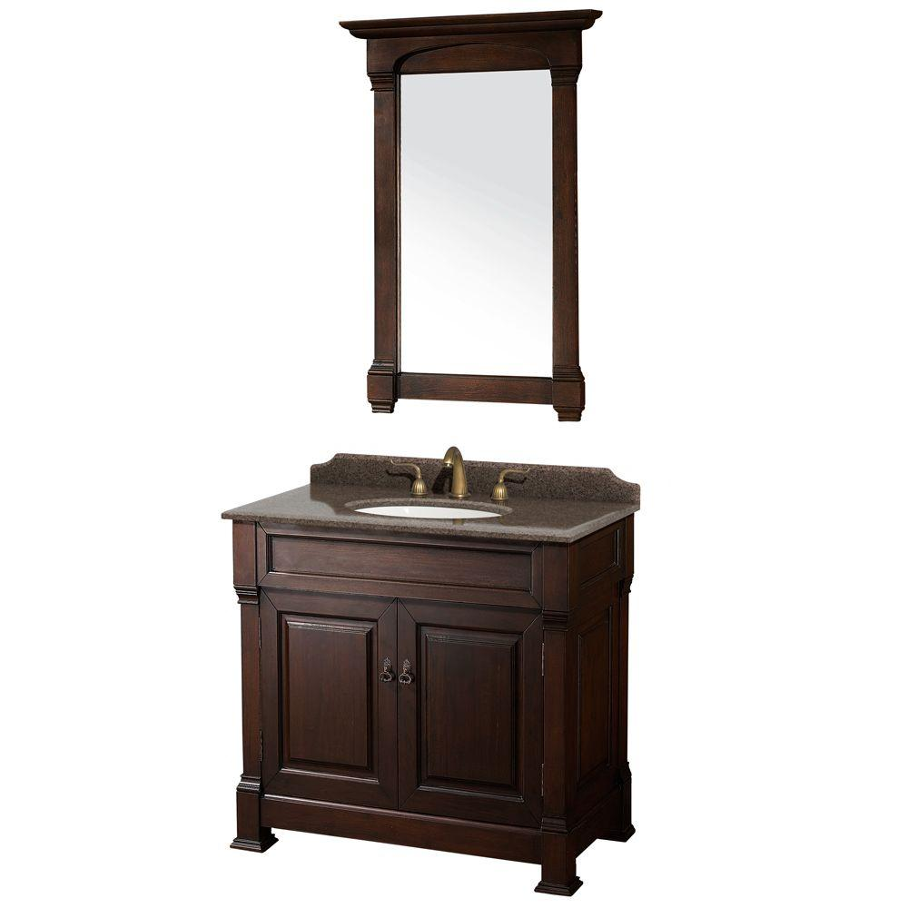 Wyndham Collection Andover 36 in. W x 23 in. D Vanity in Dark Cherry with Granite Vanity Top in Imperial Brown with White Basin and Mirror