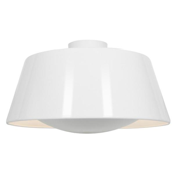 SoHo 18.75 in. 3-Light LED Glossy White Flush Mount with Diffuser