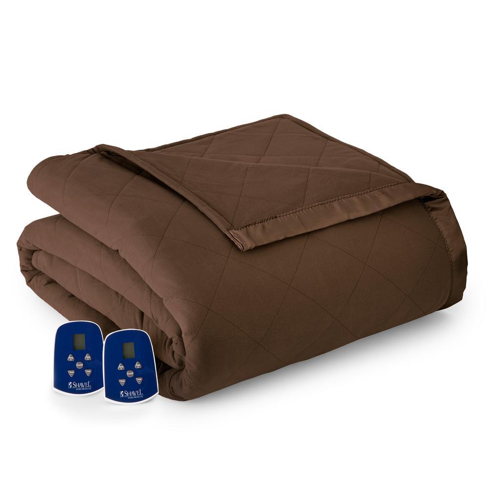 King/Cal King Chocolate (Brown) Electric Heated Comforter...