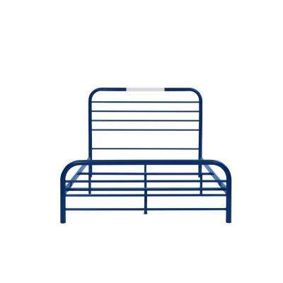 Timothy Full Size Complete Bed with Task Lighting in Royal Blue Metal