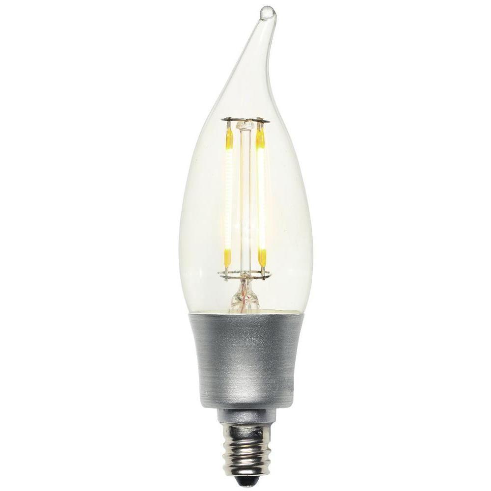 40W Equivalent Soft White (2,700K) Decorative CA10 Flame Tip Candelabra Base Dimmable Filament LED Light Bulb