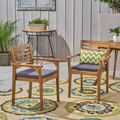 Judson Teak Stationary Wood Outdoor Dining Chair with Dark Gray Cushions (2-Pack)