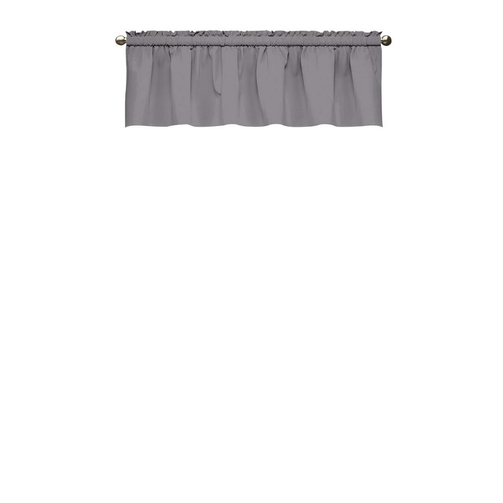 18 in. L Kids Microfiber Polyester Blackout Window Valance in Grey
