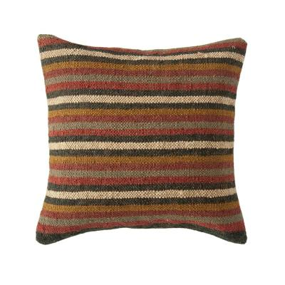 Multicolor Striped Kilim Jute and Wool Blend 18 in. x 18 in. Throw Pillow
