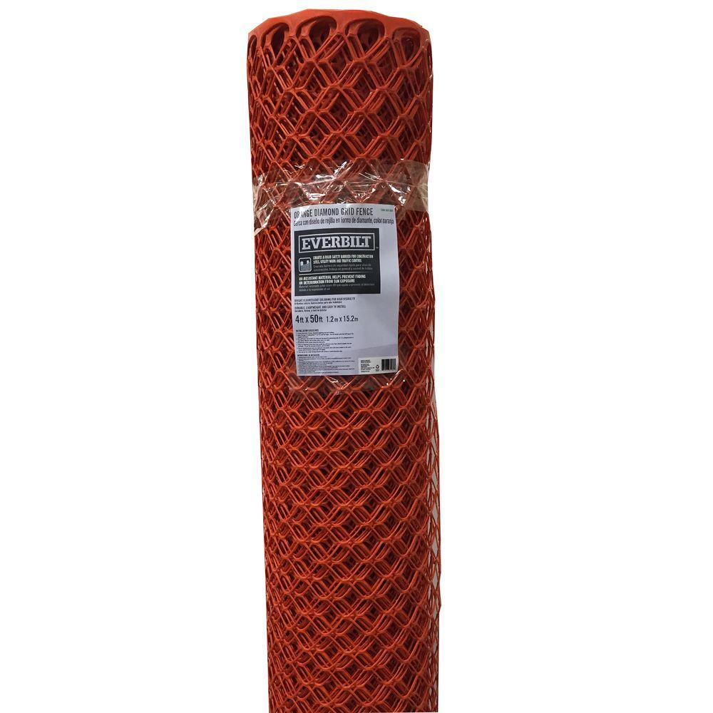 4 ft. x 50 ft. Orange Diamond Grid Barrier Fence