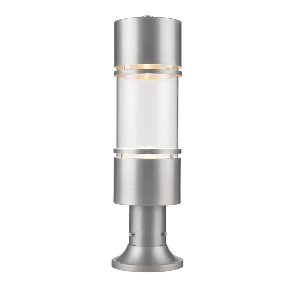 Kadhi 1-Light Brushed Aluminum LED Outdoor Post Mount with Clear Glass