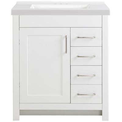Westcourt 31 in. W x 22 in. D Bath Vanity in White with Cultured Marble Vanity Top in White with White Sink