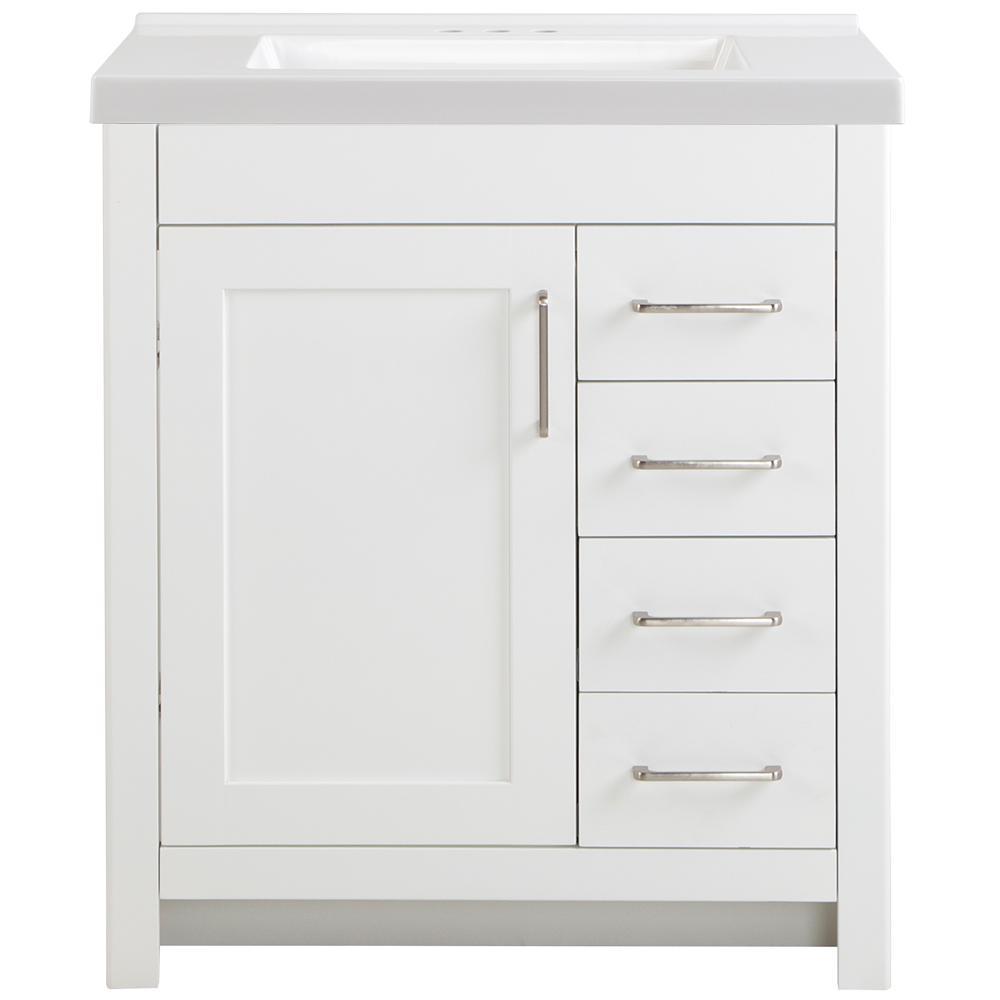 Westcourt 31 in. W x 22 in. D Bath Vanity in White with Cultured Marble Vanity Top in White with White Sink