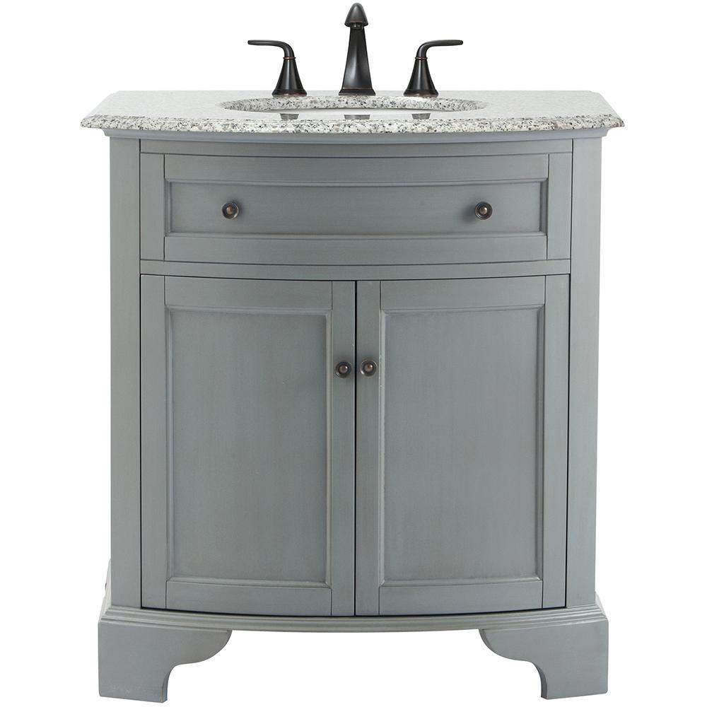 Hamilton 31 in. W x 22 in. D Bath Vanity in Grey with Granite Vanity Top in Grey with White Sink