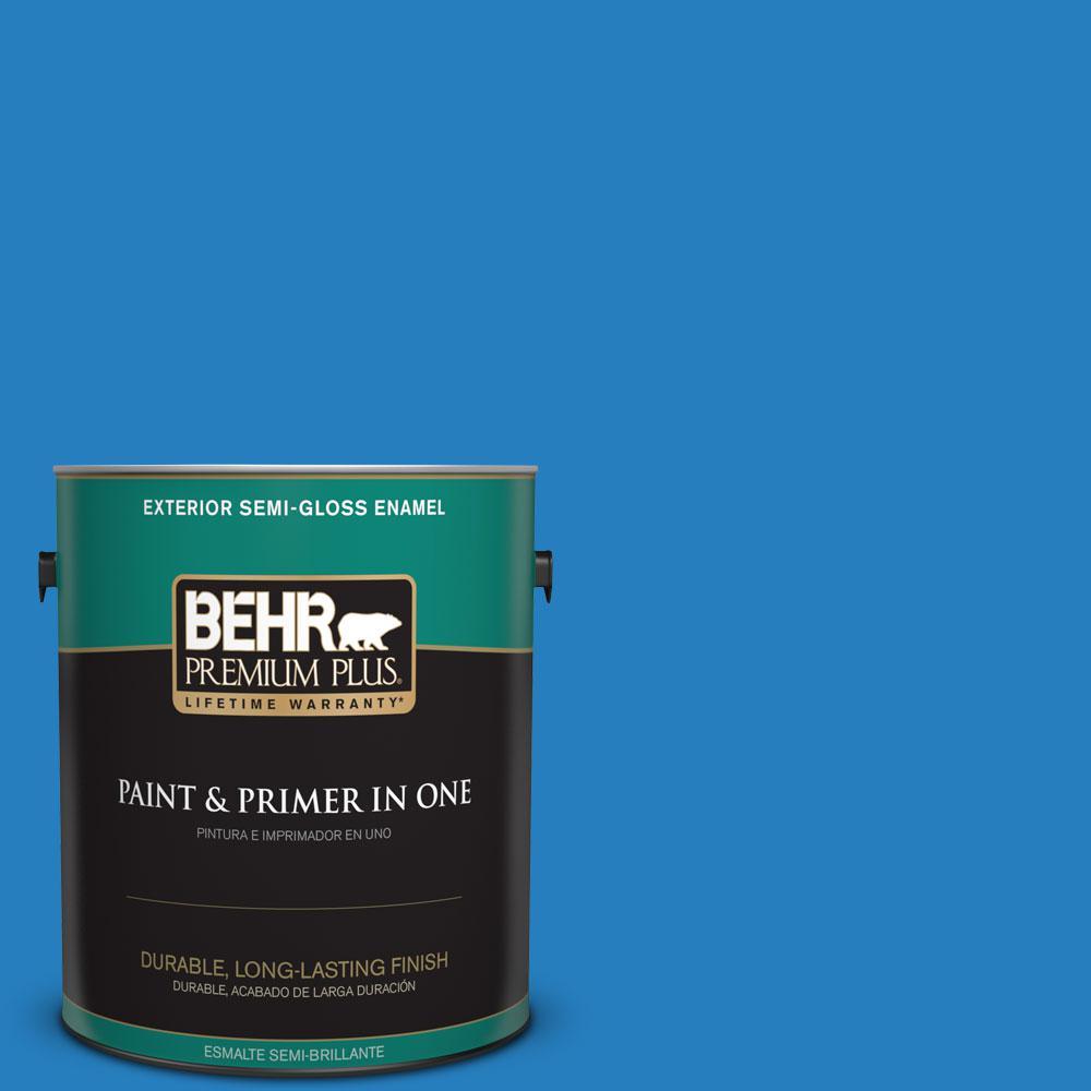 1-gal. #P510-6 Brilliant Blue Semi-Gloss Enamel Exterior Paint
