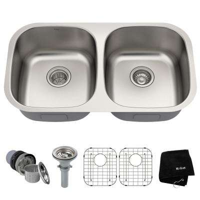 Premier Undermount Stainless Steel 32 in. 50/50 Double Bowl Kitchen Sink