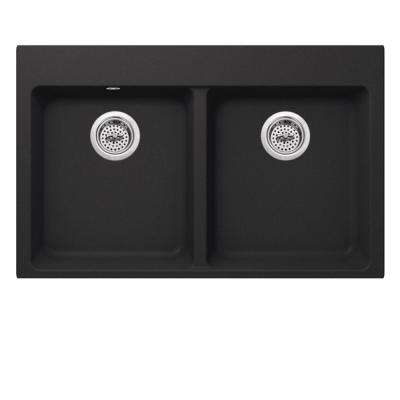 Dual Mount Quartz 33 in. 50/50 Double Bowl Kitchen Sink in Onyx Black