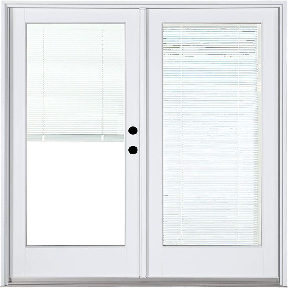 Mp doors 72 in x 80 in fiberglass smooth white left hand for Black french doors exterior