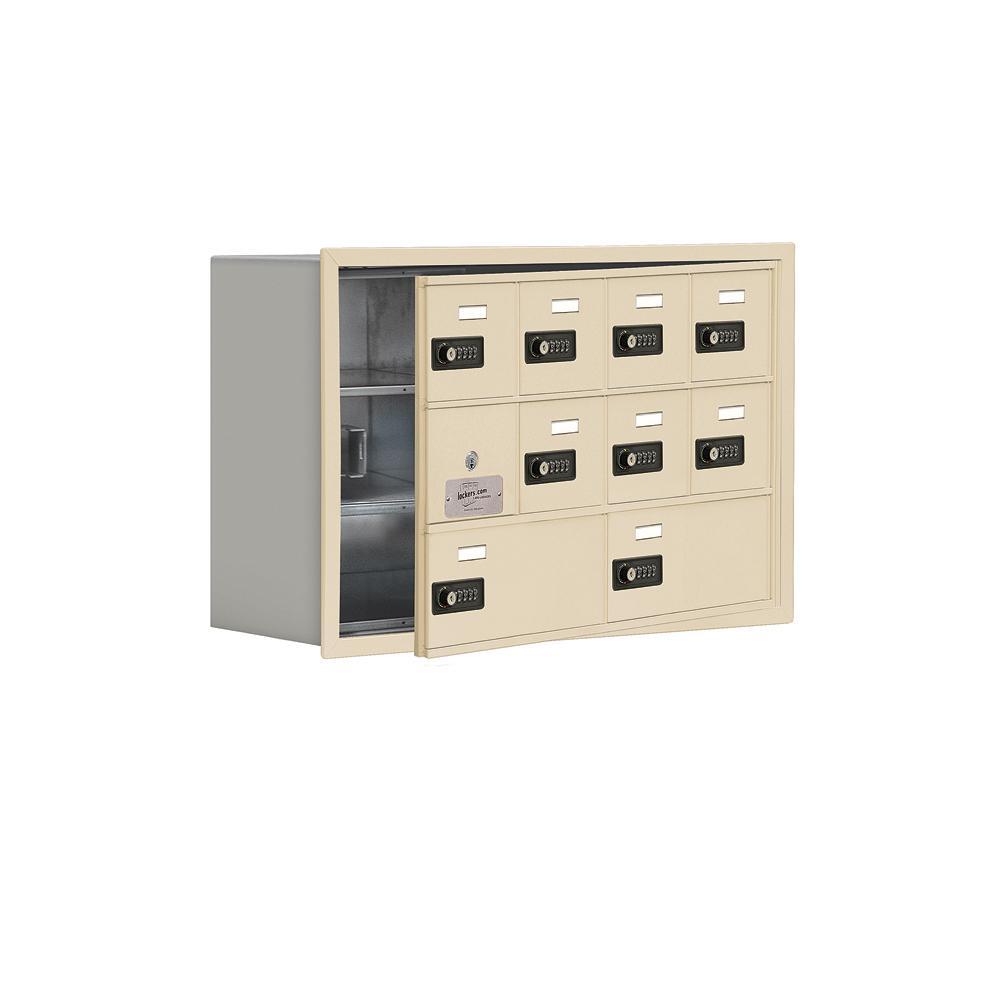 19100 Series 29.25 in. W x 18.75 in. H x 8.75 in. D 9 Doors Cell Phone Locker Recess Mount Resettable Lock in Sandstone
