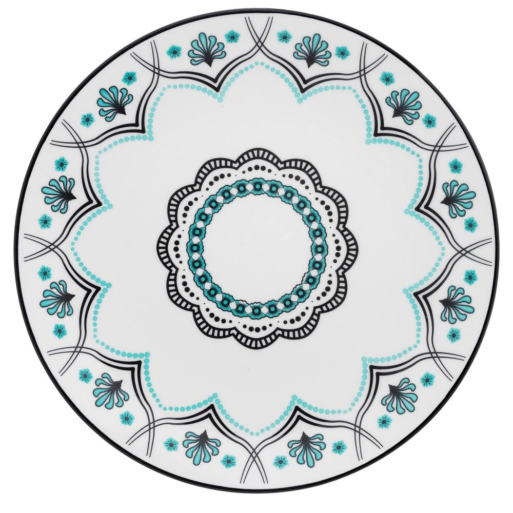 Manhattan Comfort 11.22 in. Coup Blue and Black Dinner Plates (Set of 6) was $99.99 now $59.3 (41.0% off)