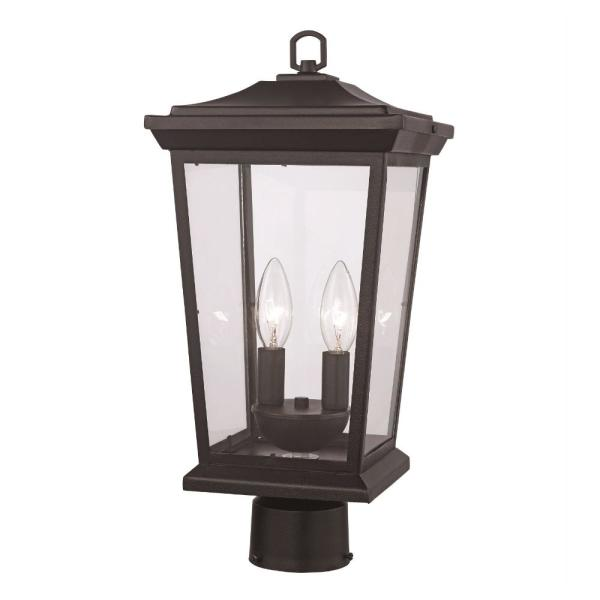 2-Light Black Outdoor Post Mount Lantern with Clear Glass