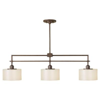 Sunset Drive 3-Light Corinthian Bronze Chandelier with Pearlescent Glass Shade