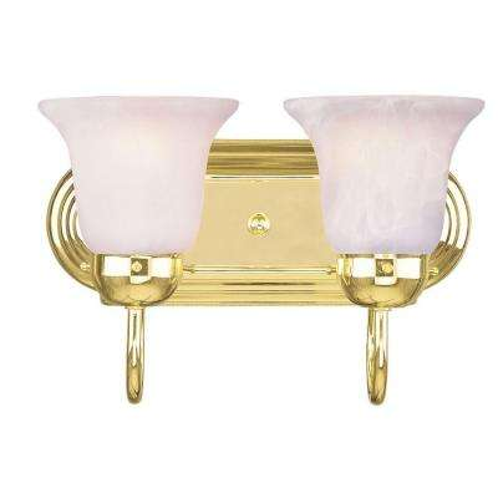 2-Light Polished Brass Bath Light with White Alabaster Glass