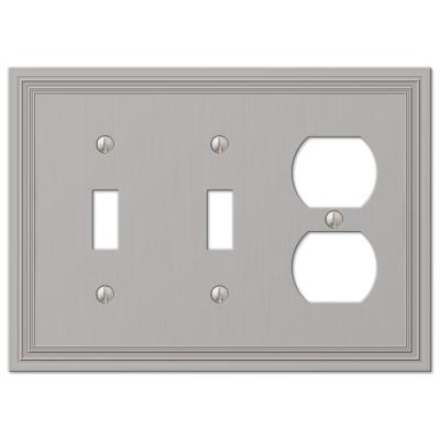 Hallcrest 3 Gang 2-Toggle and 1-Duplex Metal Wall Plate - Satin Nickel