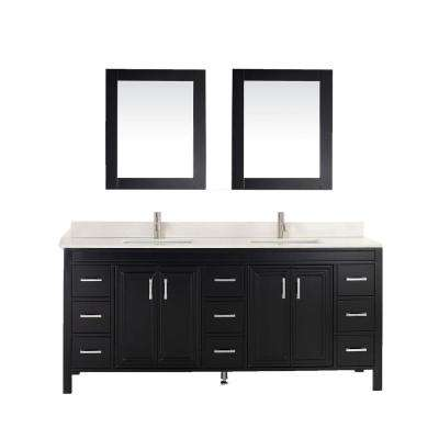 Dawlish 75 in. W x 22 in. D Vanity in Espresso with Solid Surface Vanity Top in White with White Basin and Mirror