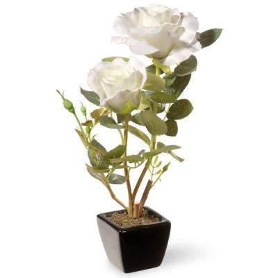 12.5 in. White Rose Flower