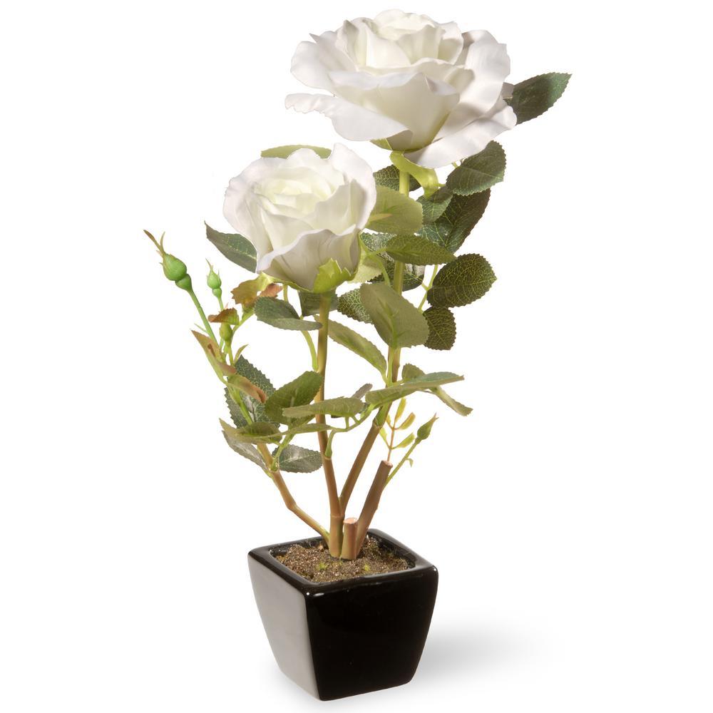 National Tree 12.5 in. White Rose Flower