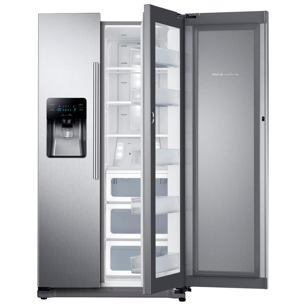 Samsung 24 7 Cu Ft Side By Refrigerator In Stainless Steel With Food Showcase