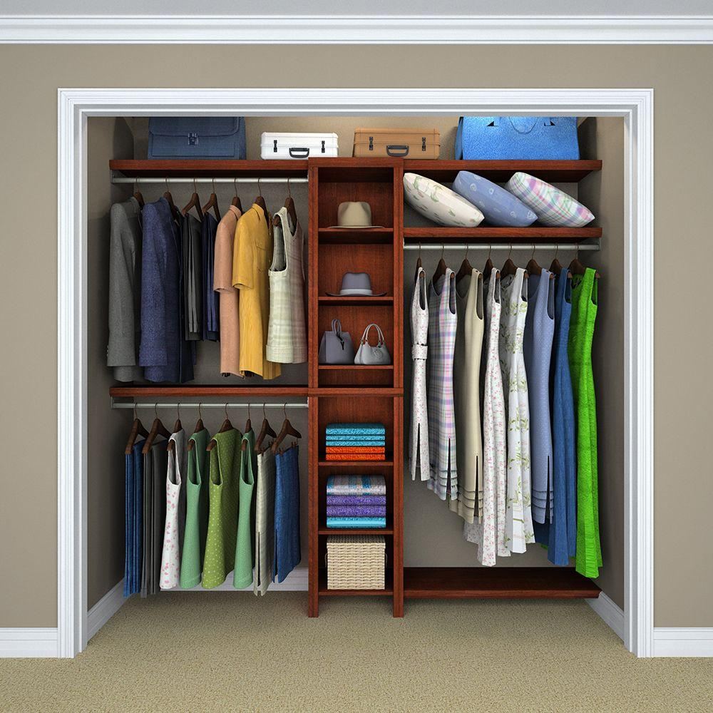 "Closetmaid 16/"" Dark-Cherry Closet-Storage Organizer-Kit Adjustable-Shelves /& Rod"