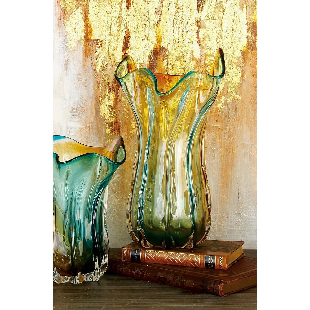 13 in. Teal and Orange Crimpled Glass Decorative Vase