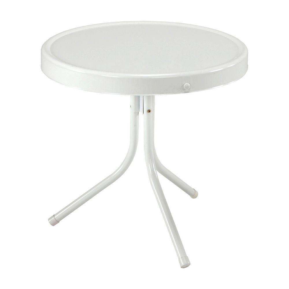 Jack Post Retro 20 in. White Patio Table