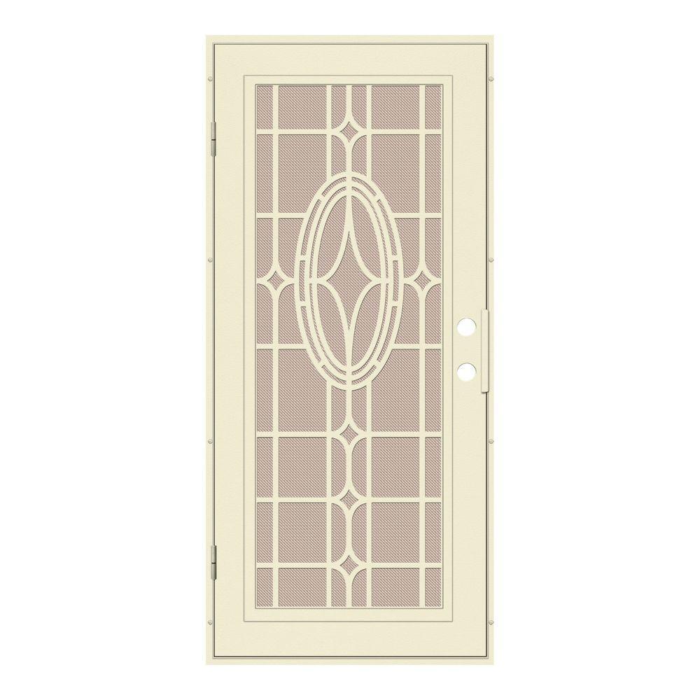 Unique Home Designs 36 in. x 80 in. Modern Cross Beige Left-Hand Surface Mount Aluminum Security Door with Desert Sand Perforated Screen