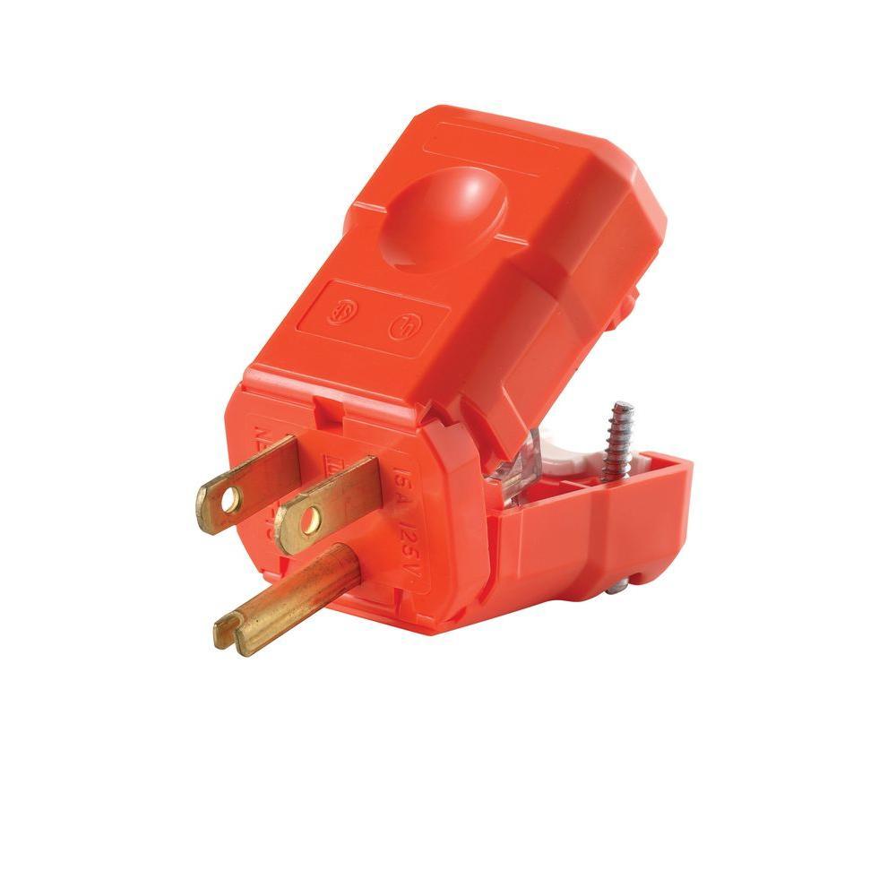 15 Amp Python Straight Blade Plug, Orange