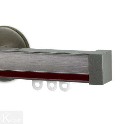 Nexgen 60 in. Non-Adjustable Single Traverse Window Curtain Rod Set with Endcap in Antique Silver with Rouge Applique