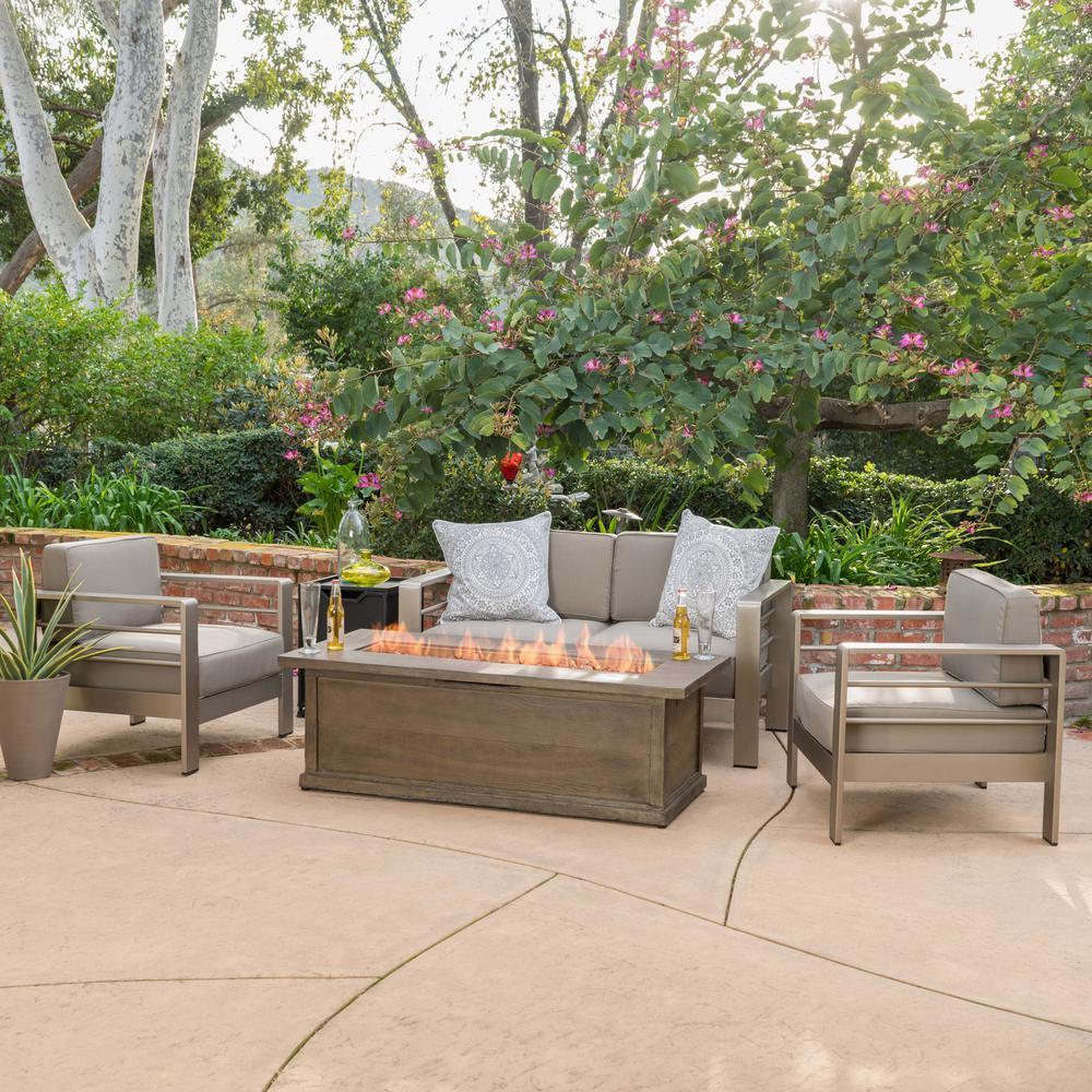 Noble House Cape Coral Khaki 5-Piece Aluminum Patio Fire Pit Conversation Set with Khaki Cushions