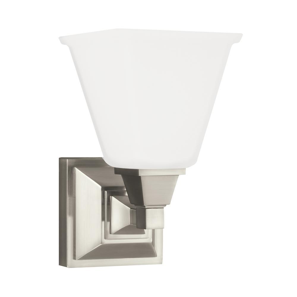 Sea Gull Lighting Denholm 1-Light Brushed Nickel Sconce with LED ...