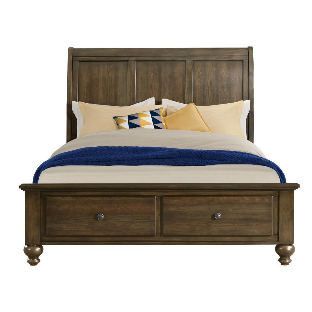 Channing Dark Walnut Queen 4-Drawer Storage Bed