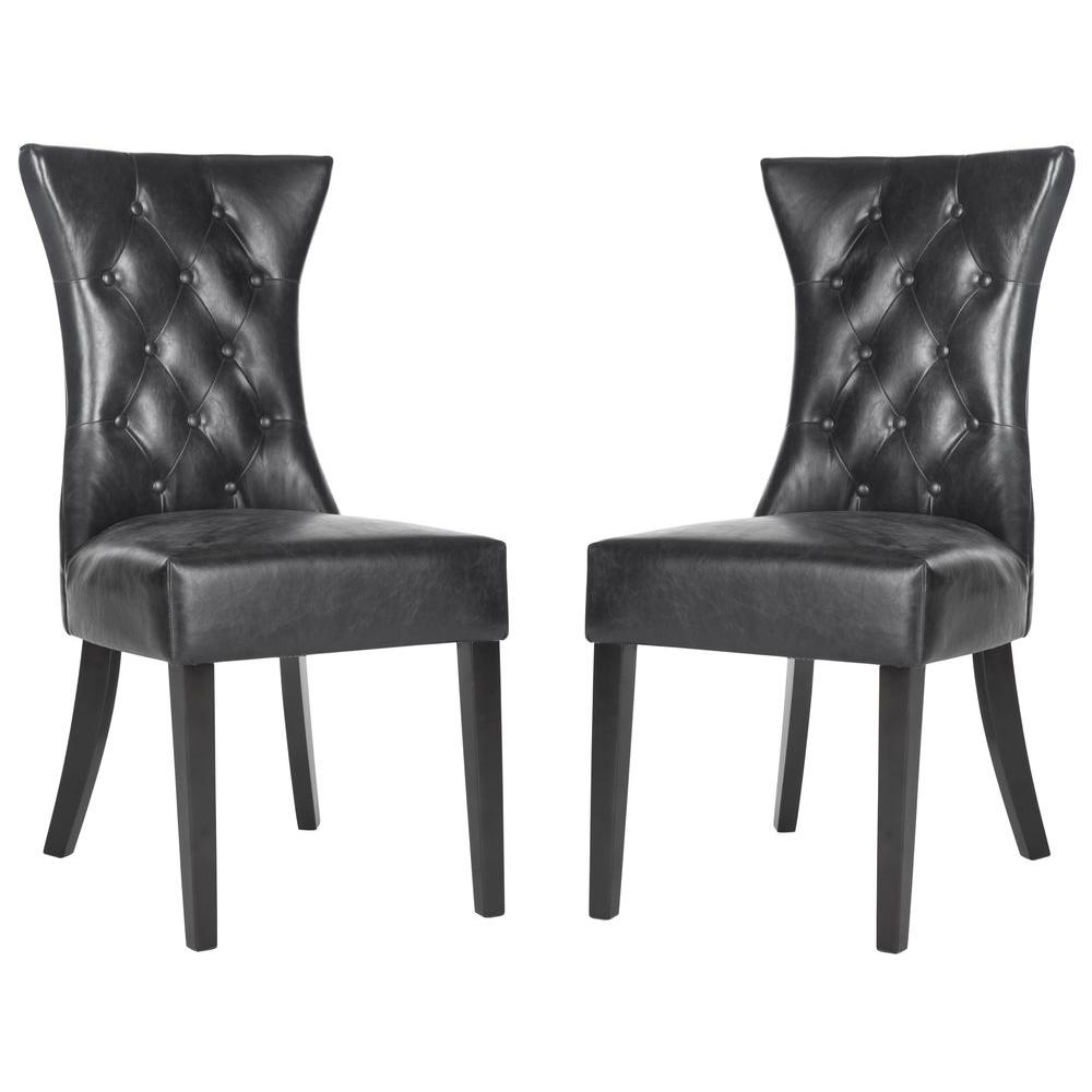 Columbo Antique Black/Espresso Bicast Leather Side Chair (Set of 2)