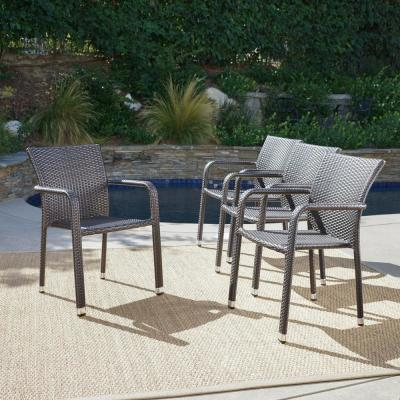 Dover Multi-Brown Wicker Stacking Outdoor Dining Chairs (4-Pack)