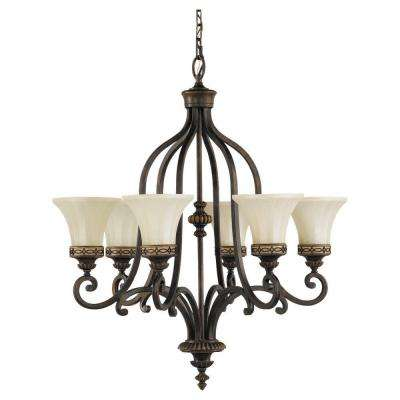 Drawing Room 6-Light Walnut Chandelier with Glass Shade