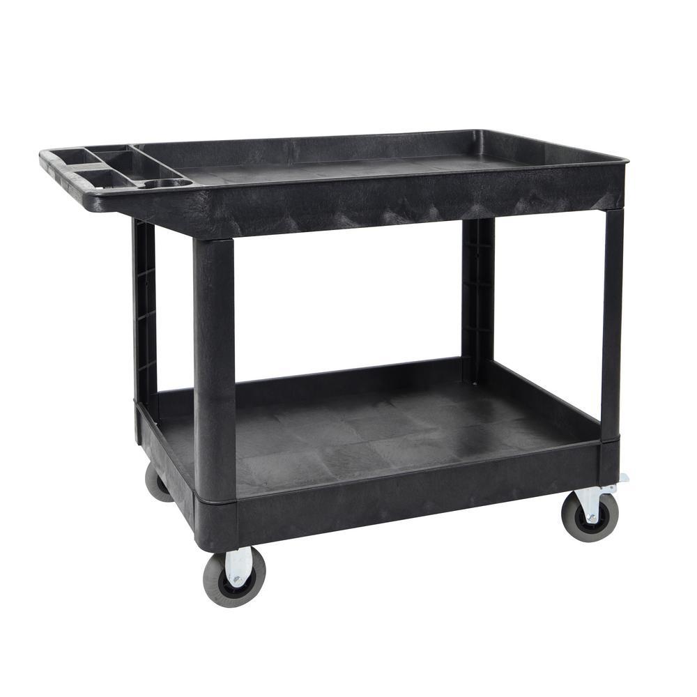 XL 24 in.  x 45 in.  2-Shelf Heavy-Duty Utility Cart 5 in.  Casters